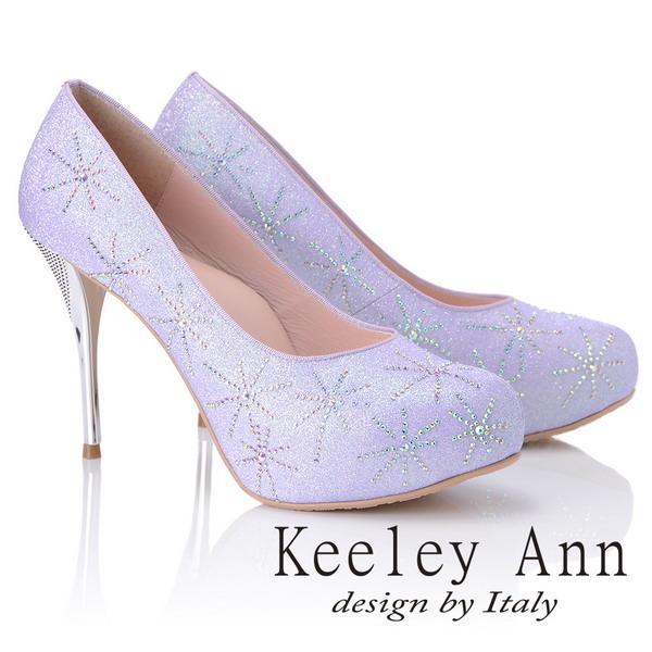 Keeley Ann優雅迷人~水鑽唯美質感真皮軟墊高跟鞋(紫色885158403)
