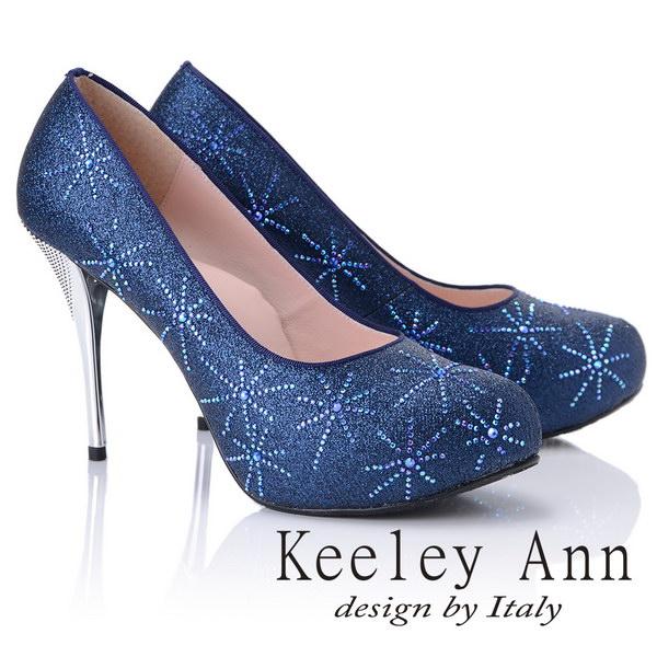 kKeeley Ann優雅迷人~水鑽唯美質感真皮軟墊高跟鞋(藍色885158460)