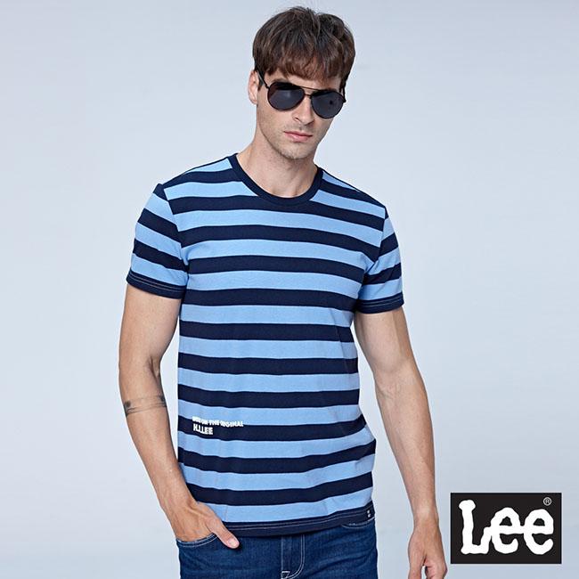 Lee 條紋短袖圓領TEE-魅力藍