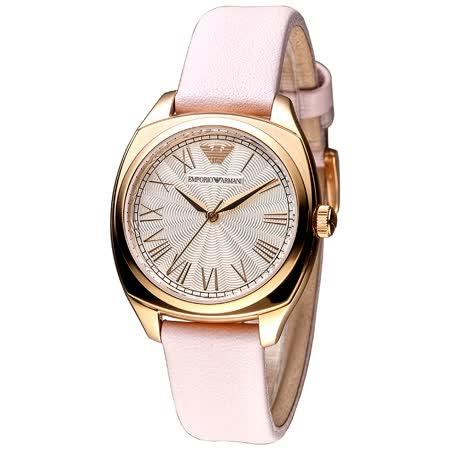 ARMANI  粉紅羅馬時尚腕錶