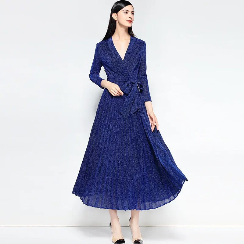 Olivia奧莉精品 深V領腰帶百摺裙洋裝 S~XL 洋裝 百摺裙 連身裙 禮服 伴娘服 媽媽裝