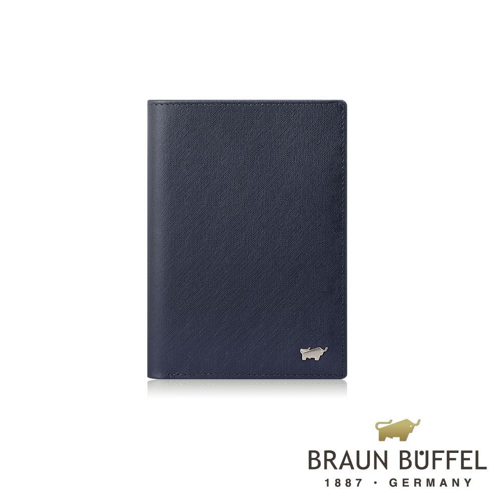 【BRAUN BUFFEL】德國小金牛 HOMME-M系列3卡護照夾(深藍)BF306-500-MAR