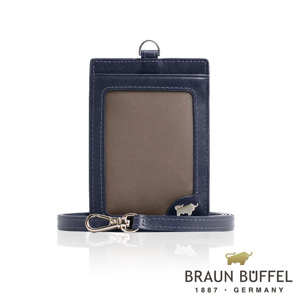 【BRAUN BUFFEL】德國小金牛 HOMME-M系列壓紋證件套(深藍)BF306-600-MAR