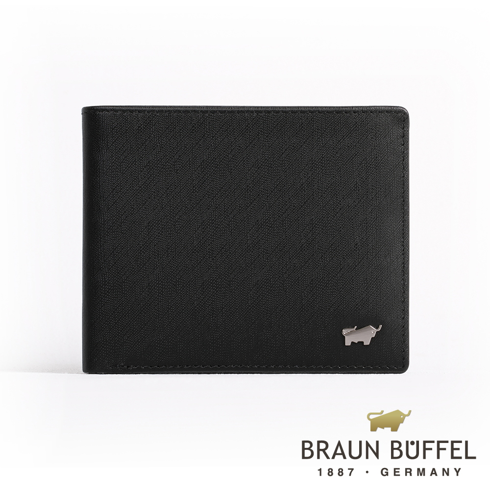【BRAUN BUFFEL】德國小金牛 HOMME-M系列8卡中翻窗格零錢皮夾(黯黑)BF306-318-BK