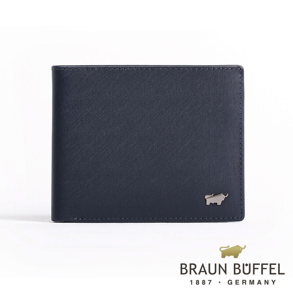 【BRAUN BUFFEL】德國小金牛 HOMME-M系列8卡中翻窗格零錢皮夾(深藍)BF306-318-MAR