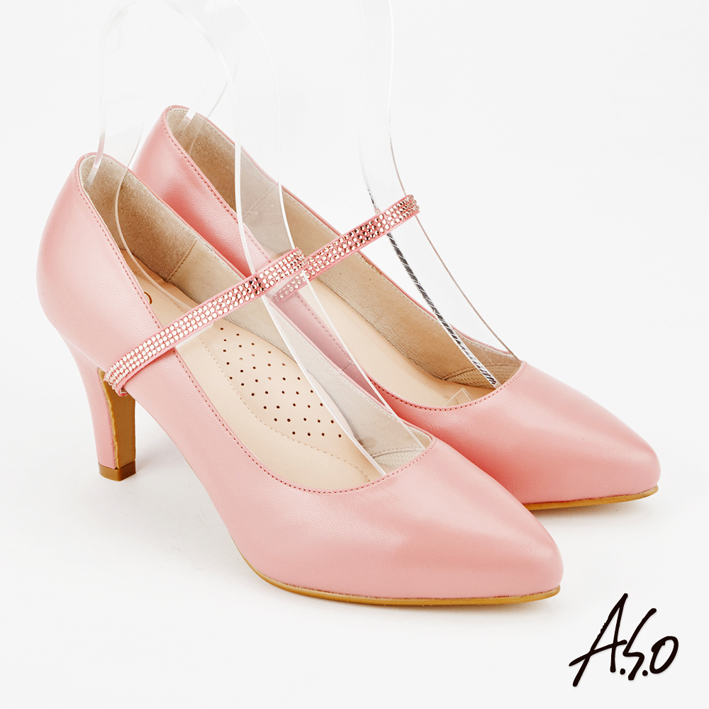 A.S.O 百變女伶 時尚優雅微尖頭高跟鞋(粉紅)