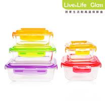 【Live&Life】居家生活多彩耐高溫玻璃保鮮盒實用5入組