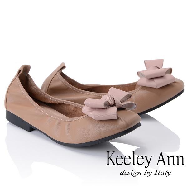 Keeley Ann簡約百搭~立體蝴蝶結緞帶柔軟舒適娃娃鞋(駱駝色885568120)