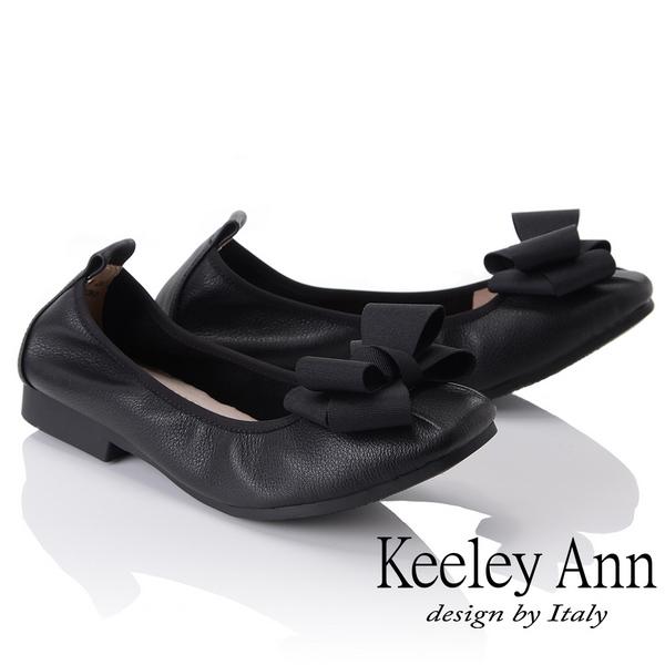 Keeley Ann簡約百搭~立體蝴蝶結緞帶柔軟舒適娃娃鞋(黑色885568110)