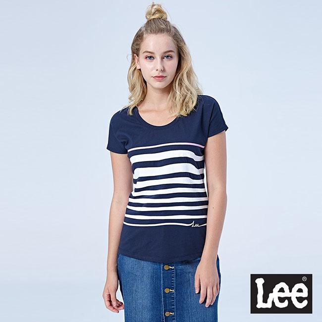 Lee 波浪條紋短袖圓領TEE-藏青色