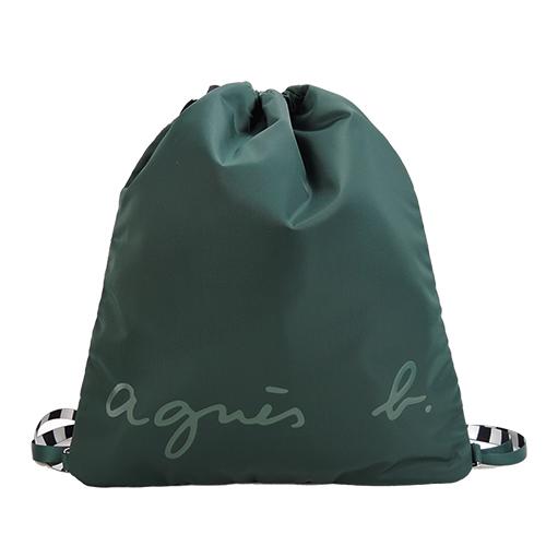 agnes b.條紋背帶束口後背包(墨綠)
