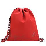 agnes b.條紋背帶束口後背包(紅)
