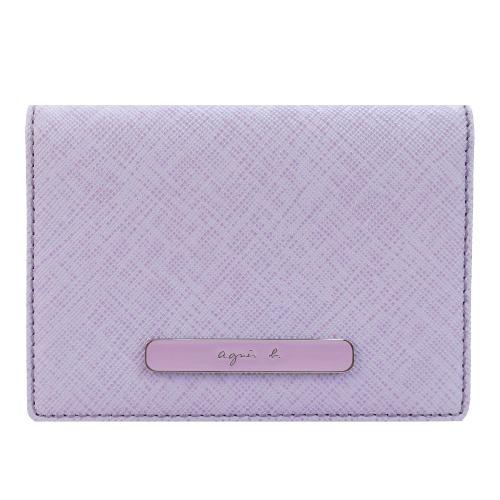 agnes b. 橢圓LOGO防刮紋票卡夾(淺紫)