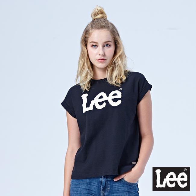 Lee 大LOGO寬版短袖圓領TEE-黑色