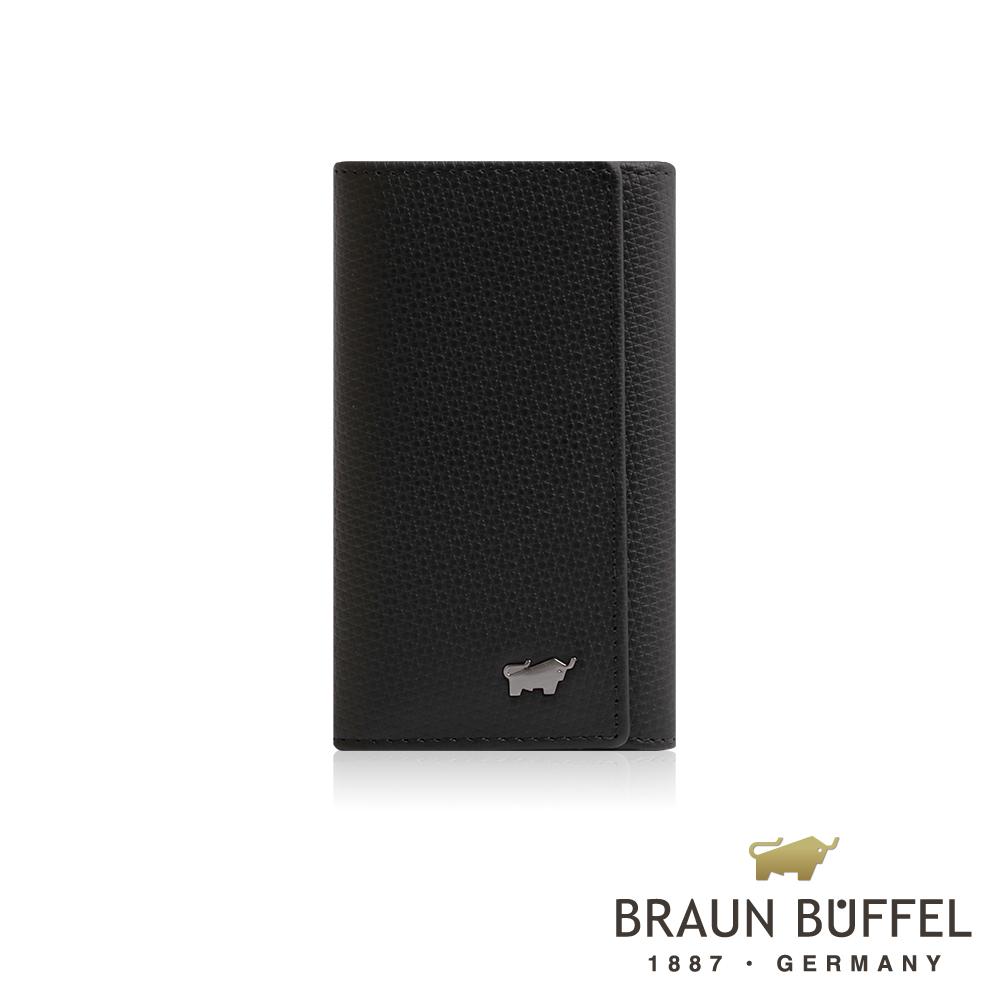 【BRAUN BUFFEL】德國小金牛 SID席德系列鎖圈鑰匙包(雅典黑)BF323-105-BK