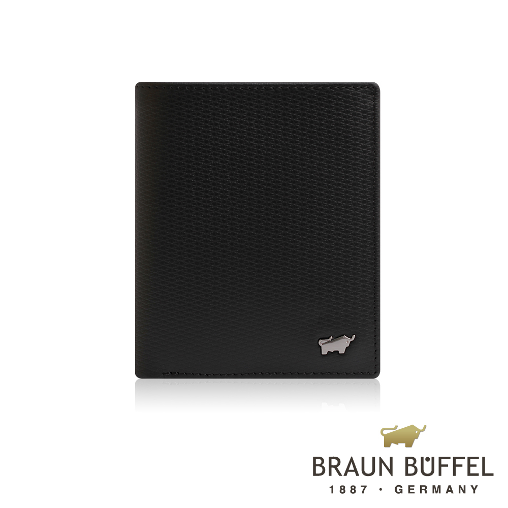 【BRAUN BUFFEL】德國小金牛 SID席德系列3卡直立式短夾(雅典黑)BF323-310-BK