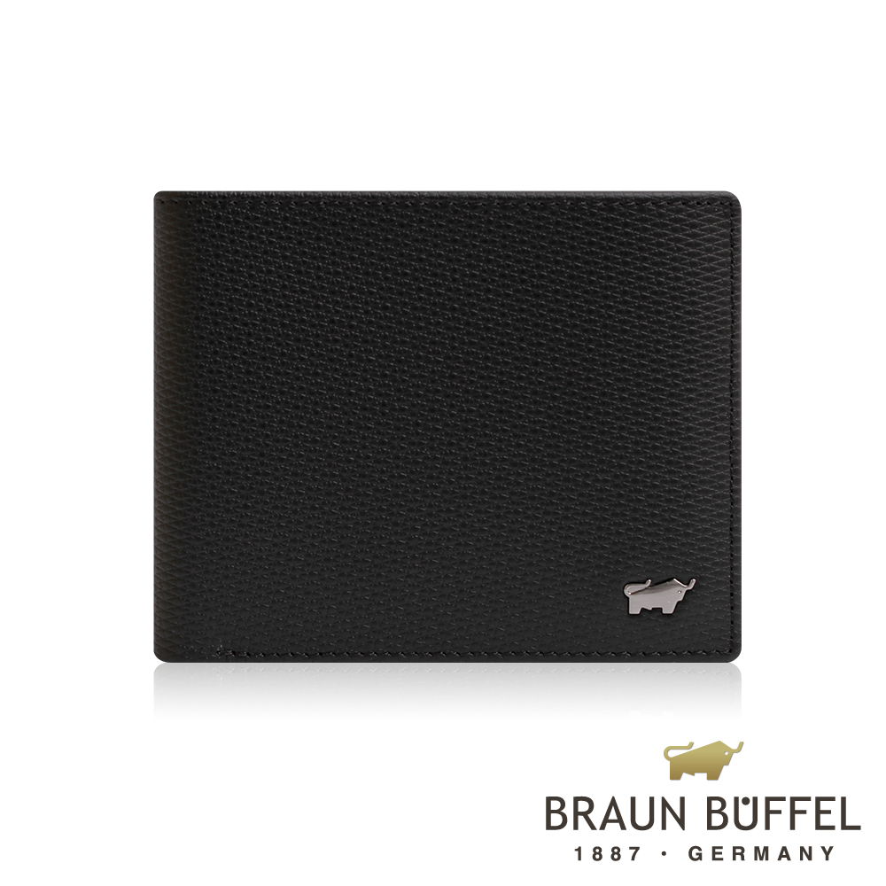 【BRAUN BUFFEL】德國小金牛 SID席德系列8卡皮夾(雅典黑)BF323-313-BK