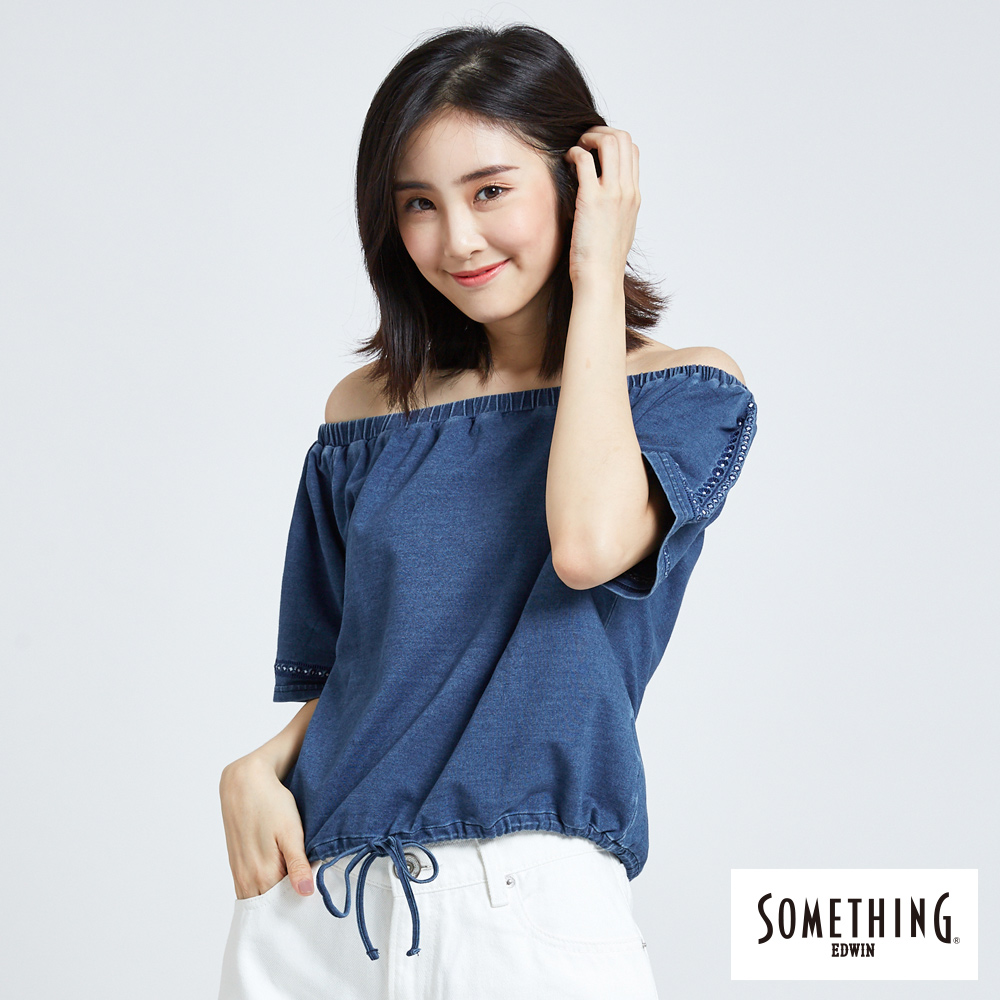 SOMETHING 一字領刺繡抽繩短袖T恤-女-漂淺藍