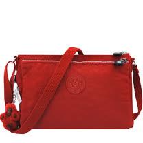 KIPLING 波紋雙層斜背包-紅色