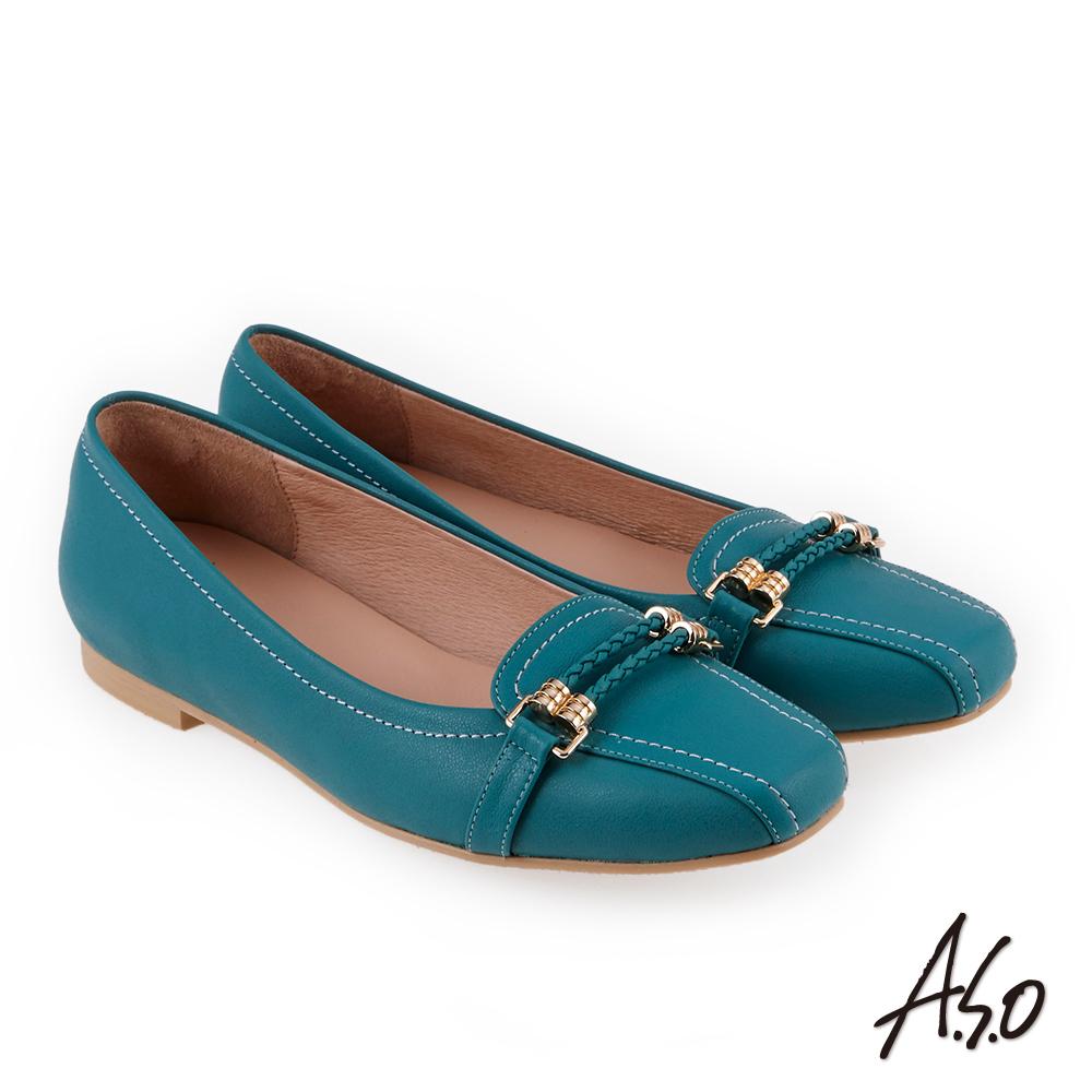 A.S.O 奇幻樂章  職場通勤簡約全真皮奈米低跟鞋(藍色)
