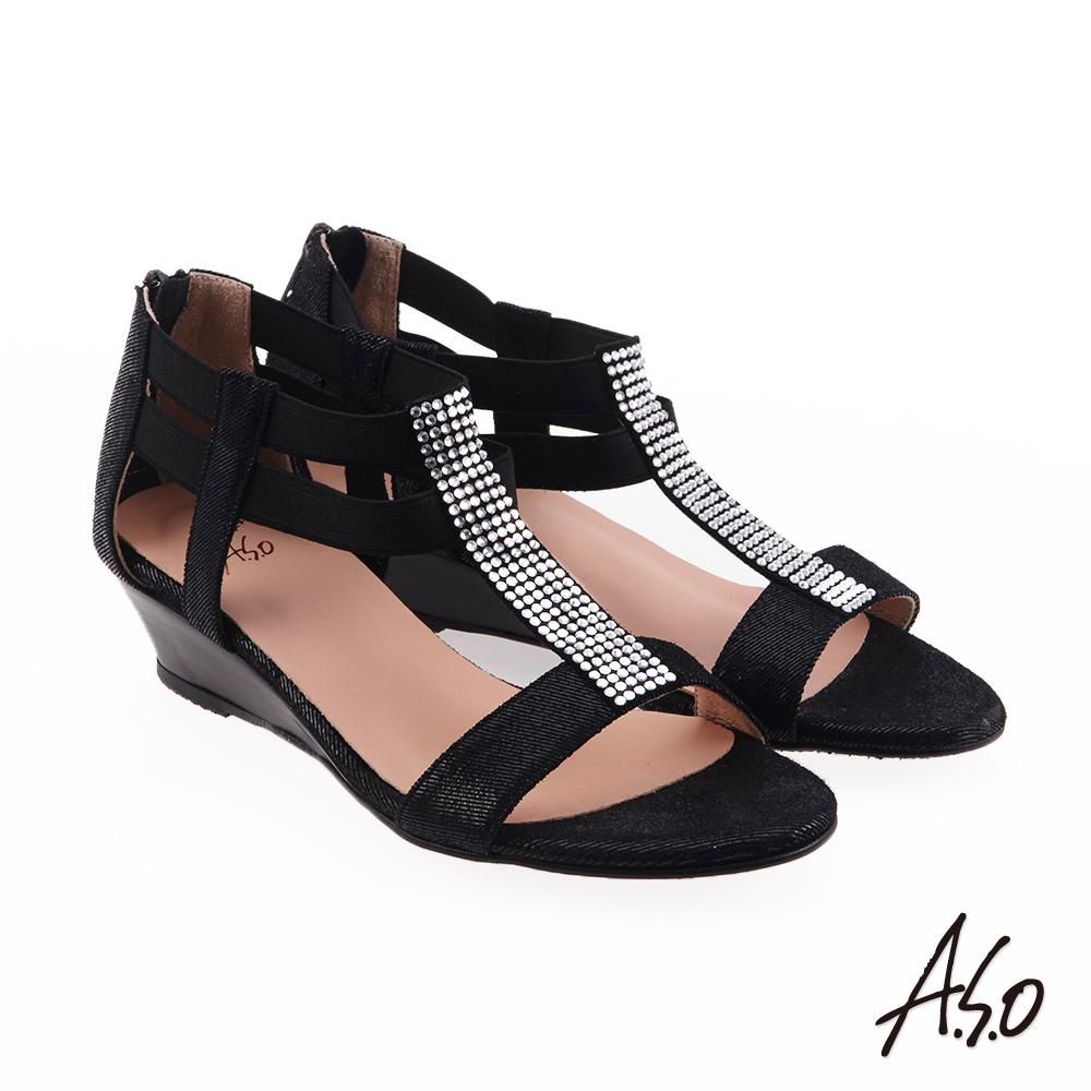A.S.O 炫麗魅惑  全真皮摩登奈米楔型鞋(黑色)