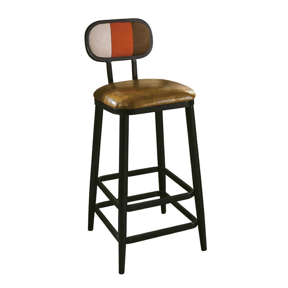 【AT HOME】美式工業風設計三色條紋高腳吧台椅(40*48*103cm)賽納