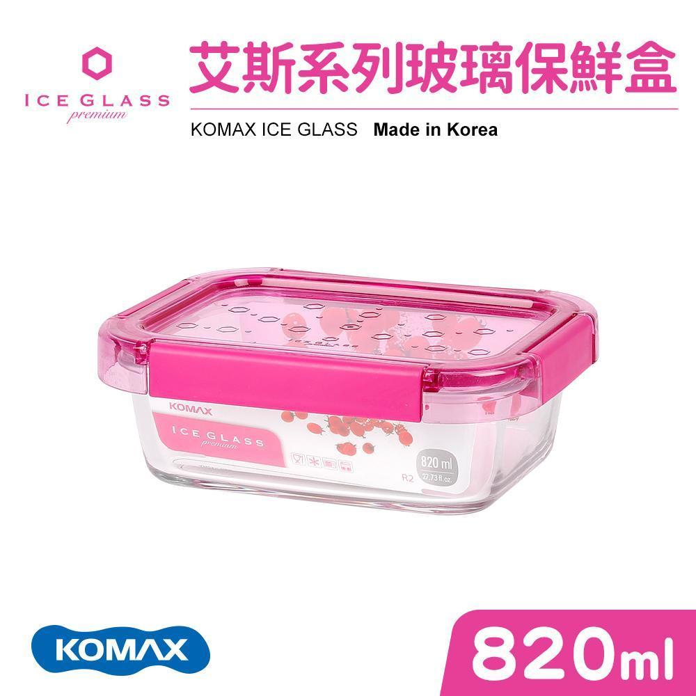 【KOMAX】艾斯桃色長型保鮮盒-820ml