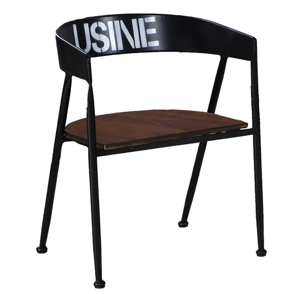 【AT HOME】美式仿舊鐵藝胡桃餐椅/休閒椅(56x54x76cm)