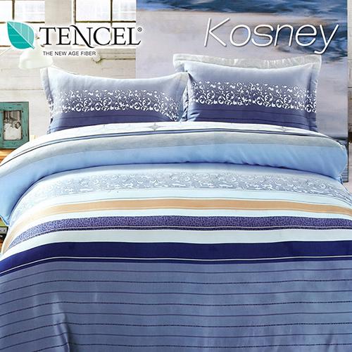 《KOSNEY 藍色迷情》特大100%天絲TENCEL四件式兩用被床包組
