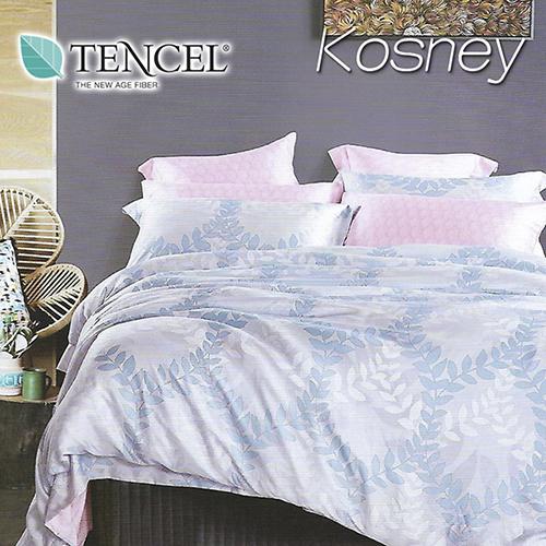 《KOSNEY 沫之花-藍》特大100%天絲TENCEL四件式兩用被床包組