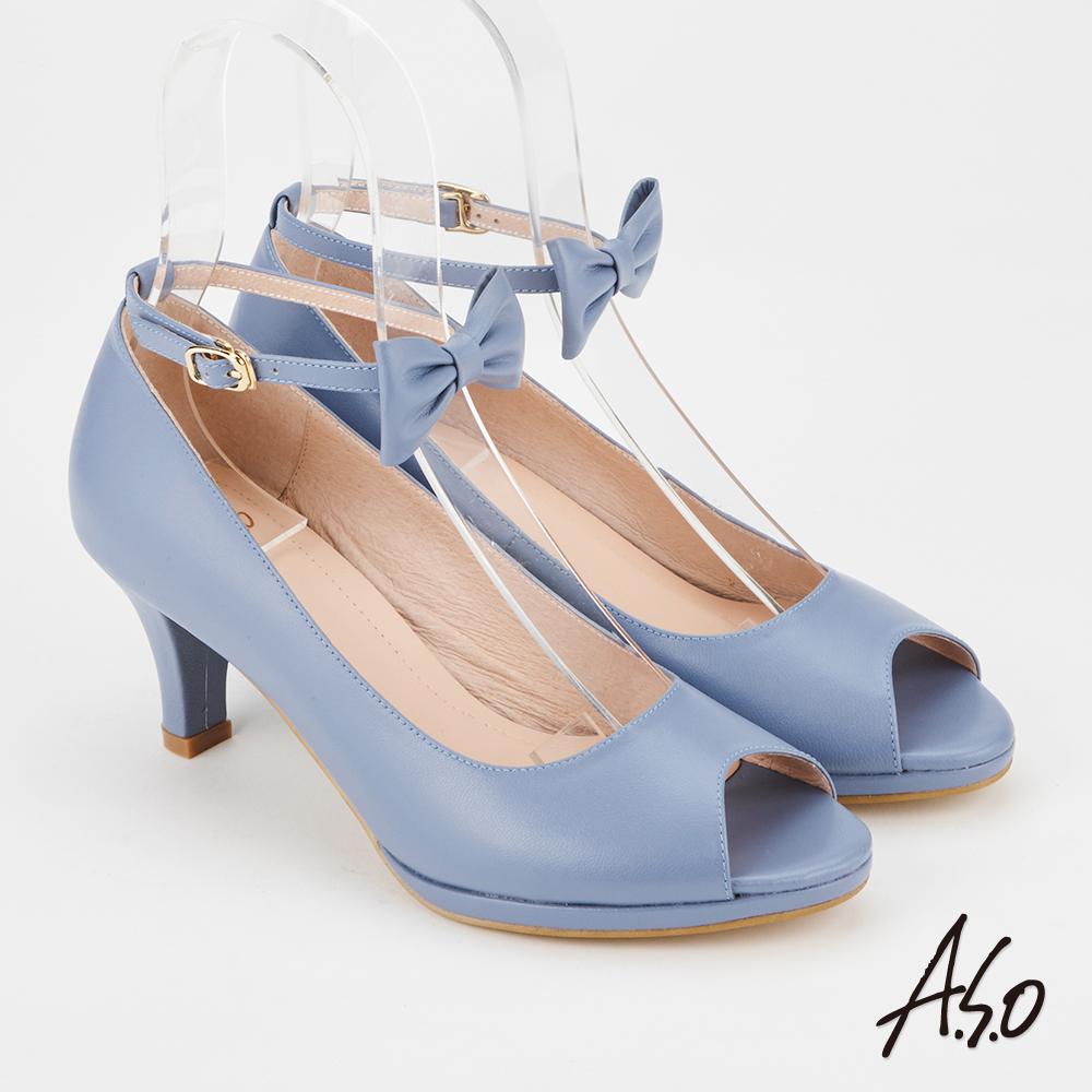 A.S.O 百變女伶  全真皮摩登蝴蝶結低跟魚口鞋(藍色)