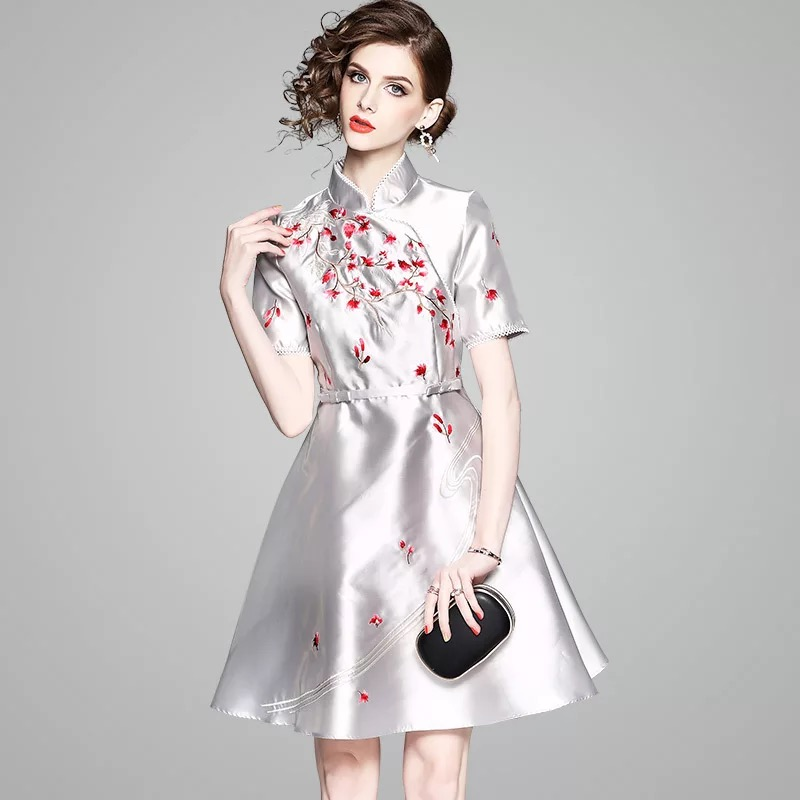 Olivia奧莉精品 東方優雅短版修身洋裝 S~XL 洋裝 中國風 連身裙 禮服 伴娘服 媽媽裝