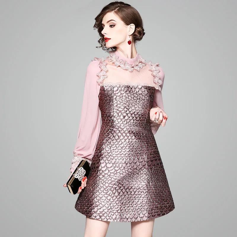Olivia奧莉精品  前衛時尚亮片拼接蕾絲洋裝 S~XL 洋裝 蕾絲 連身裙 禮服 伴娘服 媽媽裝