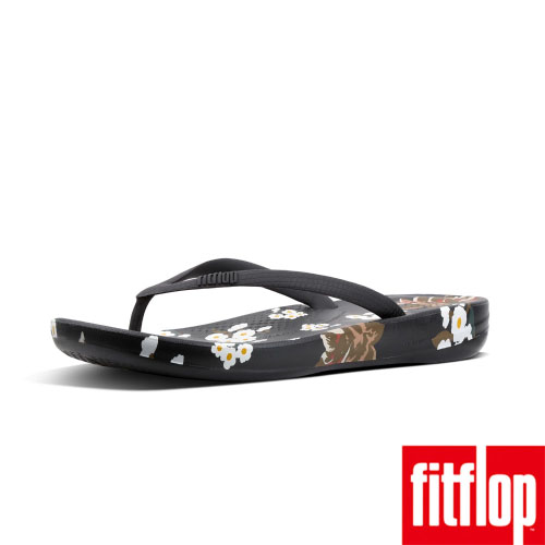 FitFlop™-(女款)IQUSHION™ DARK FLORAL ERGONOMIC FLIP FLOPS-黑色
