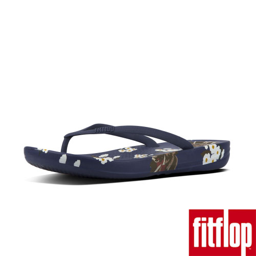 FitFlop™-(女款)IQUSHION™ DARK FLORAL ERGONOMIC FLIP FLOPS-皇家藍