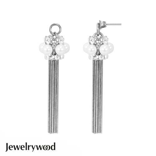 Jewelrywood Venetian珍珠流蘇耳環(白金)