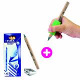組合優惠【美國The pencil grip】大三角握筆器(1入)+【德國LYRA】三角原木鉛筆(6入附雙孔削筆器)