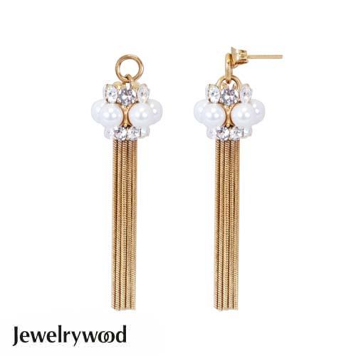 Jewelrywood Venetian珍珠流蘇耳環(金)