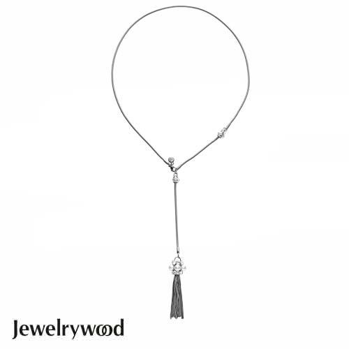 Jewelrywood Venetian珍珠流蘇項鍊(白金)