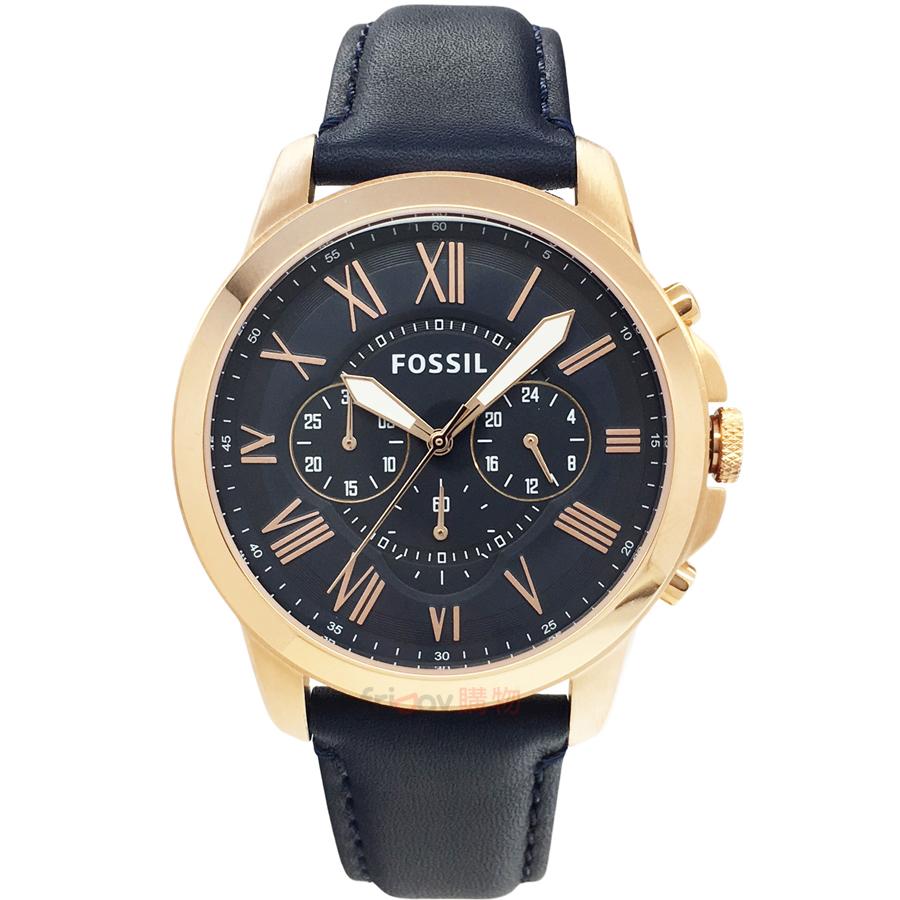 FOSSIL 手錶 FS4835IE 深藍面 玫金框 深藍色錶帶 44mm 男錶