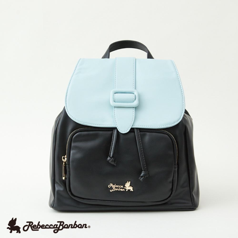 馬卡龍。單皮釦織帶後背包 【RB46-298B】藍色棉花糖 Rebecca Bonbon日本狗頭包 現+預