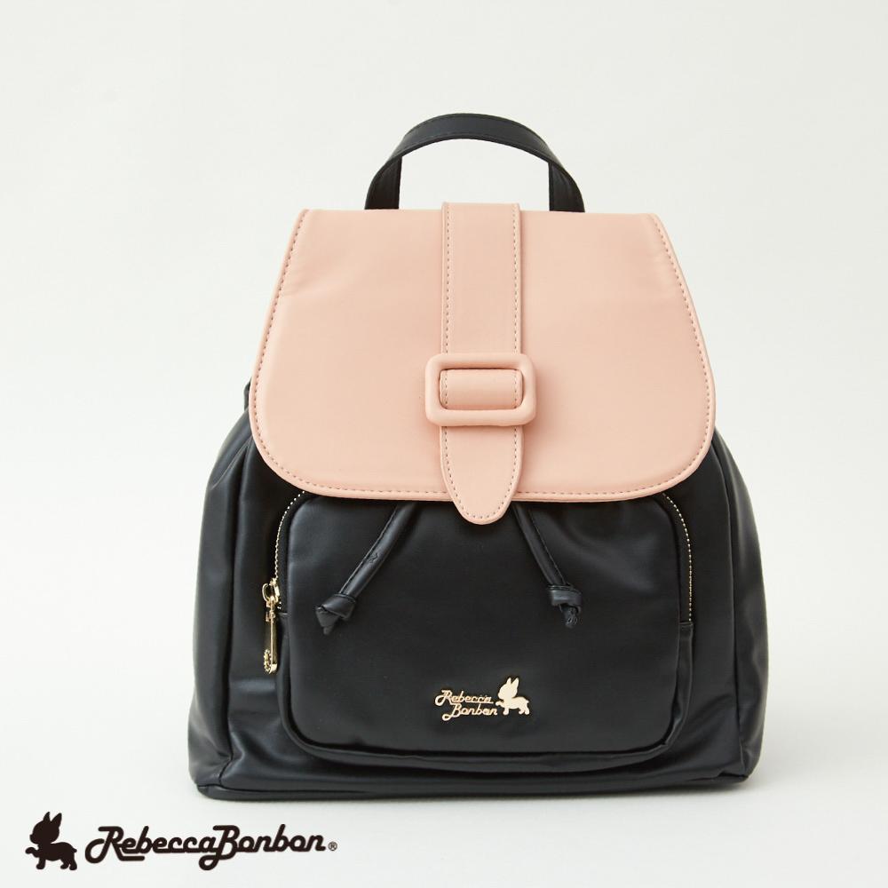 馬卡龍。單皮釦織帶後背包 【RB46-298P】粉紅太妃糖 Rebecca Bonbon日本狗頭包 現+預