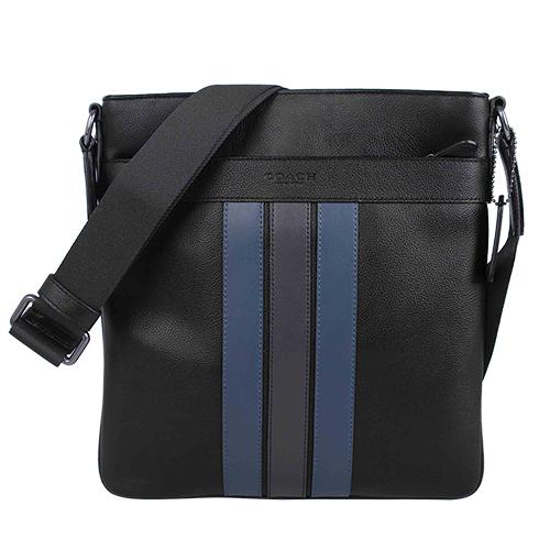 COACH - 荔枝皮革壓印LOGO藍黑條紋男斜背包(黑)