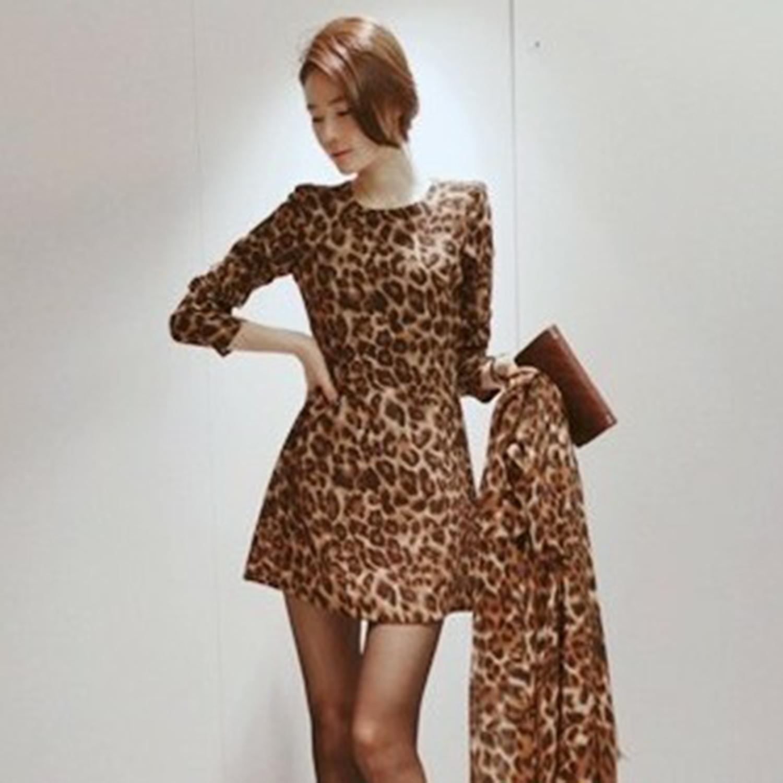 【Jisen】心機美人豹紋修身短版洋裝
