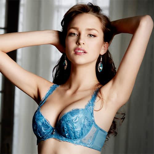 莎露-玻璃鞋系列B-C罩杯內衣(藍)奢華蕾絲-深V包覆-集中美胸