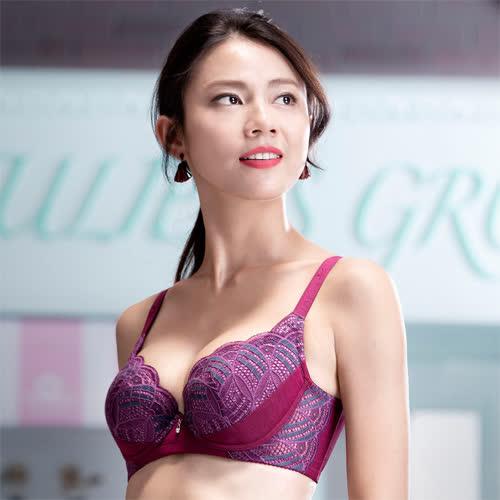 華歌爾-摩奇X挺魔力胸罩B-C罩杯內衣(紫)機能集中-舒適包覆-提托美型