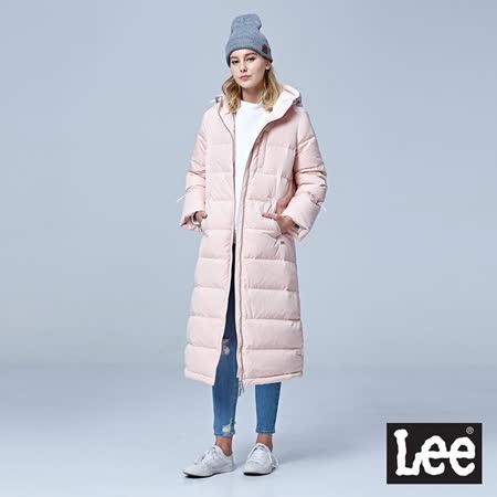 Lee 過膝長版連帽羽絨外套80/20/RG-粉紅色