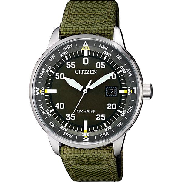 CITIZEN 星辰 限量光動能旅行手錶-綠帆布/ 42mm BM7390-22X