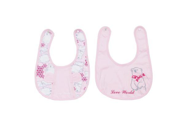 【愛的世界】北極熊圍兜兩件組/free size-淺粉色-台灣製-