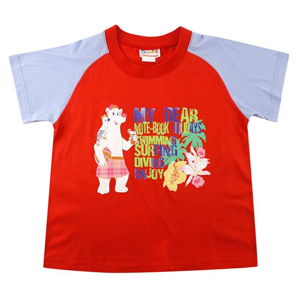 【愛的世界】SUPERMINI 純棉圓領渡假勝地短袖上衣/10~12歲-台灣製-